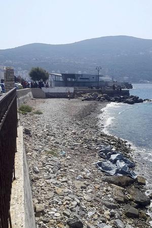 Mottagningscenter för flyktingar som kommer till Samos på gummibåtar.