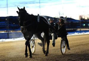 En vanlig syn. On Track Piraten njuter av en seger tillsammans med kusken Johnny Takter och skötaren Maja Bäckman.