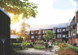 """""""PARKLIV"""". Det här förslaget vill ta vara på och öppna upp grönområdet vid bostadsområdet. Vilka som ligger bakom förslagen är hemligt – men de fyra deltagande arkitektkontoren är Nyréns arkitektkontor, RB Rachel Betlatchew/URBIO, White Arkitekter AB och Basark AB."""