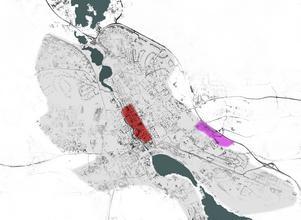 I Falun, liksom i många mellanstora Svenska städer, har en ny handelsplats vuxit fram utanför stadskärnan. Kartan visar förhållandet mellan centrum (rött) handelsområdet (rosa) och tätorten (grått).