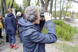 Märta Södergren är med på sin första fågelexkursion.
