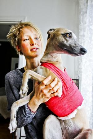 Under läketiden blir det inga längre utevistelser för Chilla. Men hon har inte bråttom ut och blir stressad av andra hundar.– Det hade kunnat gå riktigt illa. Vi är glada att hon lever, säger matte Frida Genlid.