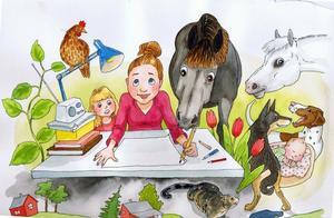 Så här såg det ut när Märta Lindqvist, som småbarnsmamma och djurägare, satt och jobbade med boken.