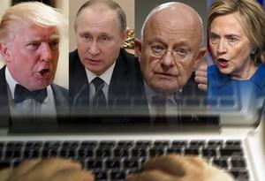 USA:s tillträdande president Donald Trump, Rysslands president Vladimir Putin, nationella underrättelsechefen James Clapper och Demokraternas presidentkandidat Hillary Clinton.