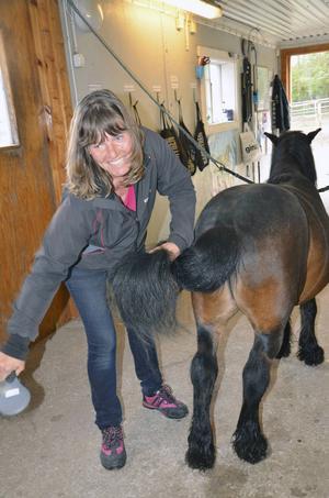 Anna-Karin Lönngren Grafford från Järvsö har hästar hemma, men hade ingen tidigare erfarenhet från trav när hon började på travskolan.