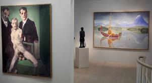 Peter Dahls verk Den siste intellektuelle i förgrunden, i nästa rum Bror Hjorths skulptur Hjort-Anders och Mårten Anderssons målning Metaren från 1965.
