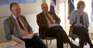 Ann-Britt Åsebol frågade ut riksdagsledamöterna Rolf Gunnarsson och Ulf Berg om arbetet i riksdagen. Foto: Privat