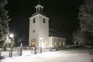 Linsells kyrka i morgonskrud. 22 minusgrader stannade kvicksilvret på.