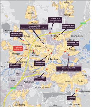 Överfallen har skett runt om hela Örebro.