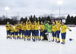 Hanna Brusberg och det svenska landslaget firar VM-guldet i USA 2016. FOTO: Fanny Nikula/TT