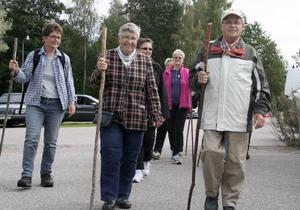 Vandrare. Hälsodagen kunde innebära en timmes pilgrimsvandring. Marianne Udd, Berit Östlund, Gert Nilsson, Cina Kedwall och Inga-Britt Nordqvist var några av dem som ville röra på sig.