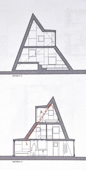 Skiss på huset från båda sidor. På den övre ser man två halvplan, på den undre tre.