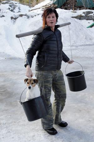 Någon brist på fritidsintressen råder det inte för Anki Lindkvist-Johansson som har både hästar och hundar att ta hand om och träna. Här med gårdshunden Signe.
