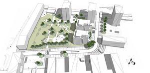 NYTT FÖRSLAG. Så här är Klockgjutarparken vid Timmermansgatan på Söder tänkt att förändras. Skanska vill bygga två nya sjuvånings punkthus i den södra delen. Kommunen vill fräscha upp parken och anlägga 17 nya parkeringsplatser vid Timmermansgatan. Förslaget går nu ut på samråd och man väntar sig att få in många synpunkter.