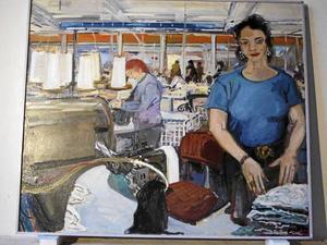 Målning från en textilfabrik.
