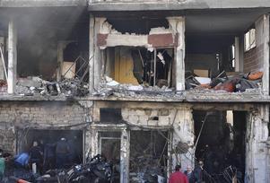 Det här är en bild från regimens nyhetsbyrå SANA, uppges vara från Zahraa i Homsdistriktet.