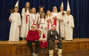 De tolv barnen som deltog i luciatåget i Tännäs i söndags.
