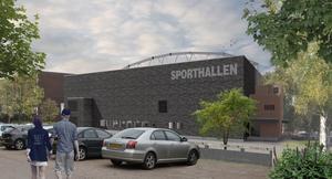 Nya Sporthallen från Samuel Permansgatan. Notera den speciella bågen på taket. Förhoppningsvis kan vi få kalla den en framtida