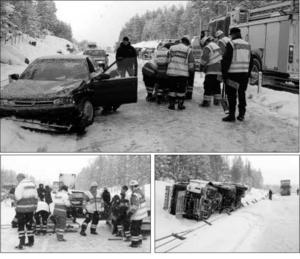 Räddnings- och ambulanspersonalen hade fullt upp med att röja upp och ta hand om skadade efter den svåra olyckan på E4:an för tio år sedan.