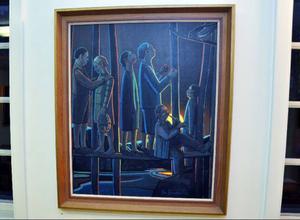 Dova färger och stiliserade motiv präglar Eva Jonssons målningar.