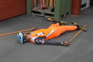 Utslagen efter några timmars tuff träning kan man bli. En av deltagarna var påtagligt trött efter ett förmiddagspass.