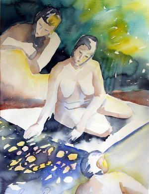 """Betrakta"", akvarell  av Susanne Perry."