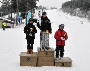 William Lindh, Malung åter på prispallens översta trappsteg, tillsammans med Melvin Vedberg, Borlänge och Petter Hagberg, Avesta.
