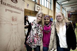 Asha Yusuf, i mitten, är aningen osäker och det kanske blir det humanistiska programmet som hon väljer. Sabina Dahlberg, till vänster, och Jenna Öhrström har redan inriktningen klar.