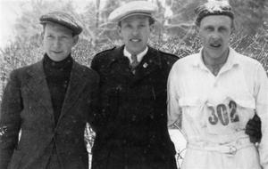 TRE SKIDSTJÄRNOR. Edvard Bohlin, Evert Södergren och Tore Larsson.Foto: Lundhs foto/Arkiv Gävleborg