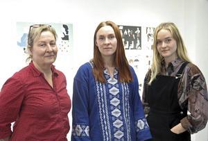 Tre konstnärer ur två generationer: Annika Erixån, Amanda Erixån och Freja Erixån.