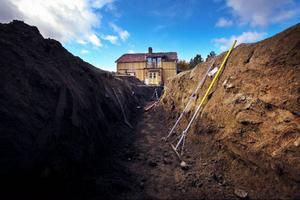 Grunden till den nya getgården började grävas i måndags.