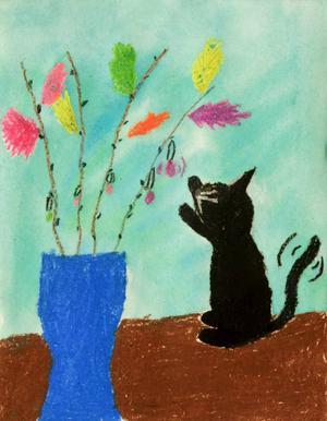Isabell Bohlin, 9 år, Krokom. Påsken kan vara rolig även för katten. Frestande fjädrar i vas.