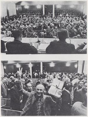 Bilder från Ljusdals kommunfullmäktige i april 1972, när nej-sidan vann med rösterna 29-20.