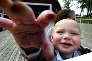 Lille linslusen. Elva månader unge Birk Axesson tittade hellre på kameran och publiken än på scenen, när han med mormor och storasyster besökte Mellsta i går kväll. Foto:Johan Larsson