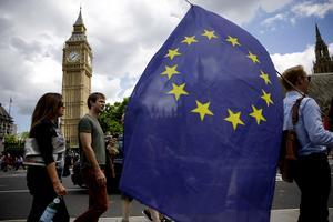 En stanna-supporter har trotsigt EU-flaggan utanför parlamentet dagen efter förlusten.