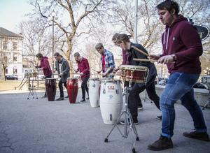 Kulturskolans slagverksorkester inledde barnkulturveckan.