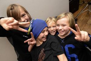 Kompisarna Sebastian Vesterlund, 9 år, Eddie Ljung, 11 år, Adrian Ljung, 9 år och William Högbom, 11 år hade trevligt.