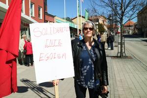 Åsa Engberg bar ett plakat med budskapet