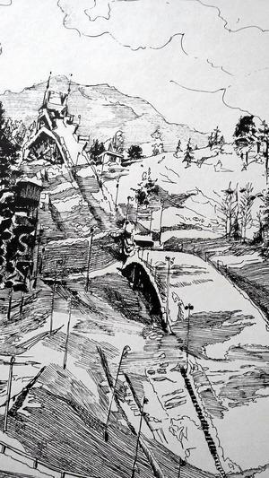 Litografi av gamla Paradiskullen.