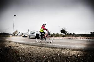 Cyklist på en annan ort.