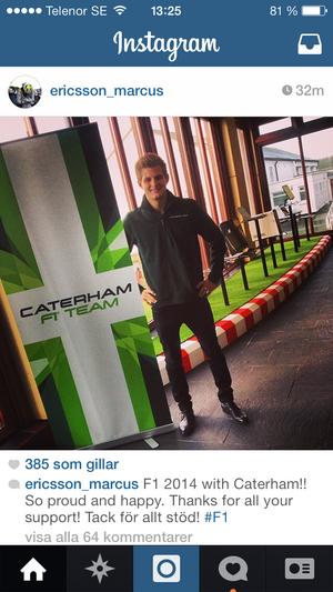Marcus första bild om F1-chansen. På hans Instagram under tisdagen.