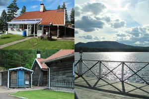 På en egen udde i Spjutmo längs Vasaloppsvägen ligger det här fritidshuset som är till salu för 3 595 000 kronor.
