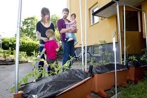 Välkomnar. Utanför ena trappuppgången står Earthboxar med tomatplantor. Lådorna är skapade för att ge bättre skördar.