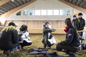 Amelia Tapper uttalar sig om en hästs gångarter för tävlingsarrangörernas domare och får beröm för synpunkter.