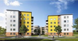 Ängstornen på Nordanby Äng. Två punkthus är färdiga och ytterligare två ska byggas.