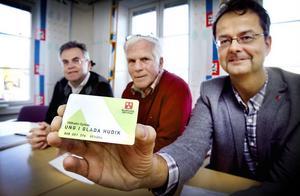 Kommunens planeringschef Hans Gyllow, kommunalråd Göte Bohman (MP) och X-trafiks affärschef Lars Björling presenterade kortet på fredagen.