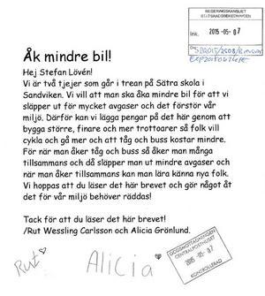Rut och Alicia från Sandviken skrev ett brev till Stefan Löfven.