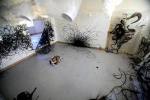 Nu har graffitin flyttat in i de fina salongerna, Östersunds Konstklubb har låtit NUG gå loss på Ahlbergshallen, originalverk skapade i lokalerna för den lokala publiken. Så här långt hade utställningen kommit på fredag förmiddag. Klubben har beställt nya mattor och kommer att måla om väggarna.