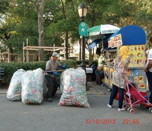 Miljökämpe i Battery Park på Manhattan.
