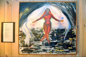 """""""Förlora fotfästet"""" heter den ena av Jeanette Wahls stora akrylmålningar, som ska avnjutas med hörlurar med Ulf Lundell i."""